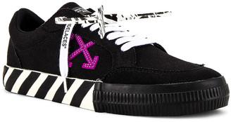 Off-White Low Vulcanized Sneaker in Black & Purple | FWRD