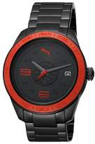 Puma Motorsport Slice Unisex Quartz Watch with Black Dial Analogue Display and Black Stainless Steel Strap PU102971002
