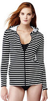 Classic Women's Petite Swim Cover-up Hoodie-Black Stripe