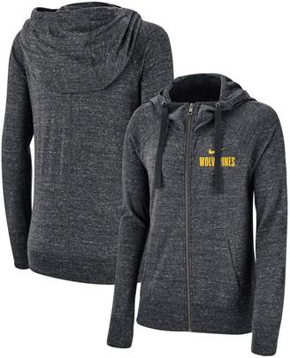 Nike Women's Heathered Anthracite Michigan Wolverines Gym Vintage Graystory Raglan Full-Zip Hoodie