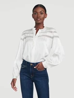 Frame Paneled Lace Long Sleeve Top
