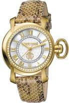 Roberto Cavalli Womens Ivory Leather Strap Watch With Silver Dial.
