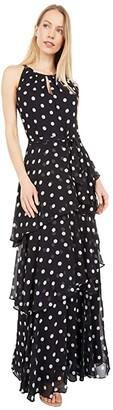 Tahari ASL Sleeveless Polka Dot Chiffon Maxi with Tiered Skirt Detail (Black/White Dot Stripe) Women's Dress