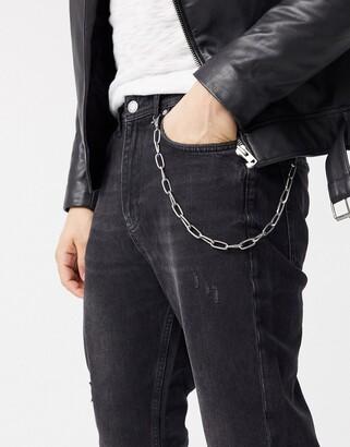 ASOS DESIGN open link jean chain in silver tone
