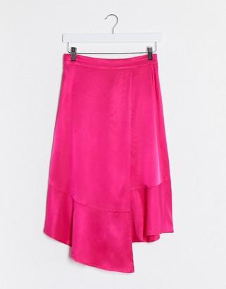 Gestuz satin asymetric skirt in pink