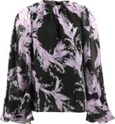 Giambattista Valli Floral Print Silk Cape Blouse