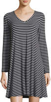 Neiman Marcus V-Neck Jersey Striped Dress