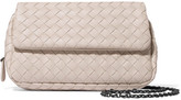 Bottega Veneta Messenger Mini Intrecciato Leather Shoulder Bag - Cream