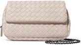 Bottega Veneta Messenger Mini Intrecciato Leather Shoulder Bag - Cream