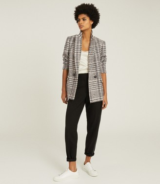 Reiss HAISLEY CHECKED DOUBLE BREASTED BLAZER Neutral