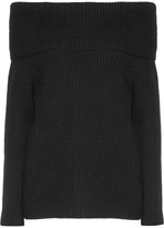 The Row Agneta Off-the-shoulder Ribbed Cashmere Sweater - Black