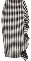 River Island Womens Black gingham print frill front pencil skirt