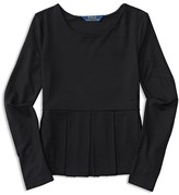 Ralph Lauren Girls' Pleated Jersey Peplum Top - Sizes S-XL