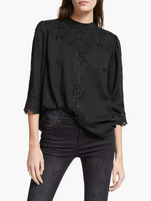 And/Or AND/OR Lydia Lace Detail Blouse, Black