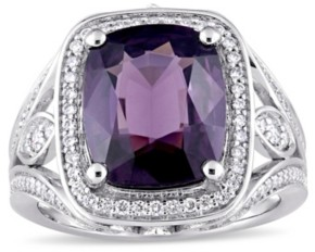 Macy's Purple Spinel (5 3/4 ct. t.w.) and Diamond (3/5 ct. t.w.) Halo Cocktail Ring in 14k White Gold