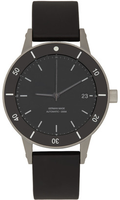 Instrmnt Silver and Black Rubber Dive Watch