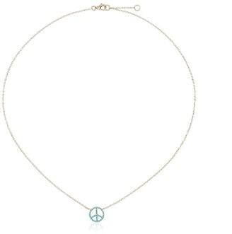 Rosa de la Cruz 18k Gold Necklace With Turquoise Peace Pendant