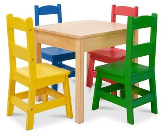 Melissa & Doug Kids Furniture Wooden Table and 4 Chairs - Primary (Natural Table, Yellow, Blue, Red, Green Chairs)