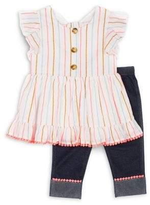 Little Lass Little Girl's 2-Piece Stretch-Cotton Tunic & Jeggings Set