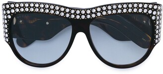 Gucci oversized tortoiseshell embellished glasses
