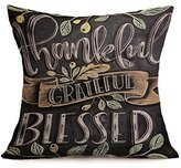 Christmas Pillow Cover, ღ Ninasill ღ Exclusive Happy Fall Thanksgiving Day Soft Linen Pillow Case Cushion Cover Home Decor (A)
