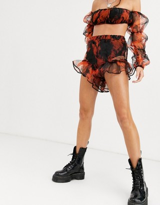 Jaded London frill edge shorts in tie dye organza co-ord