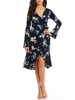 Lucy Paris Alexa Printed Bell Sleeve Faux-Wrap Dress