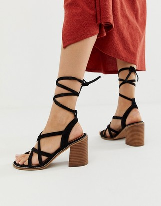 ASOS DESIGN Trivia suede tie leg heeled sandal