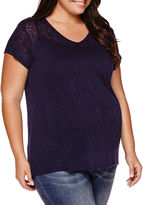 Asstd National Brand Maternity Short-Sleeve Burnout Tee - Plus