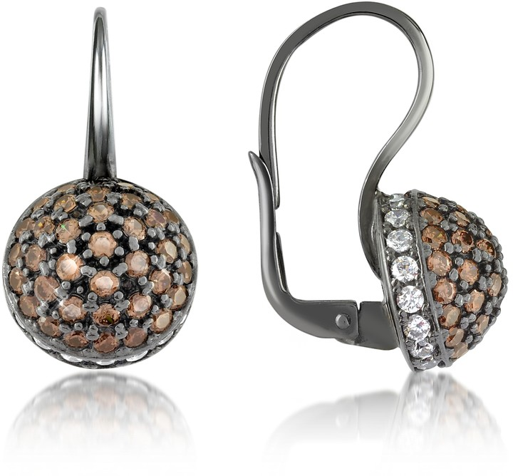Azhar Cubic Zirconia and Sterling Silver Round Earrings