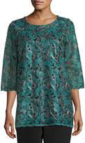Caroline Rose Petite Lux Embroidered Tunic