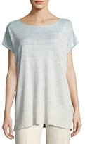 Lafayette 148 New York Linen-Blend Melange Ombré Sequin Sweater, Light Blue