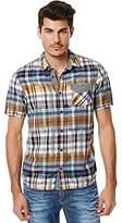 Buffalo David Bitton Men's Sarat Short Sleeve Ikat Fashion Woven Shirt