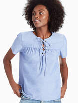 Lucky Brand Short Sleeve Lace Up Top