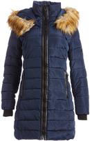 XOXO Navy Long Faux Fur Trim Puffer Coat