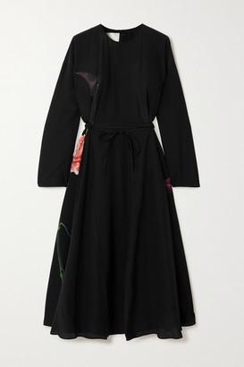 Valentino Belted Floral-print Silk Crepe De Chine Midi Dress - Black