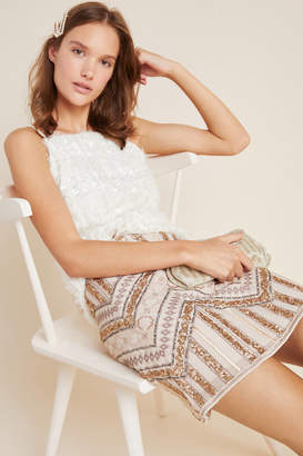 Anthropologie Darla Embroidered Mini Skirt