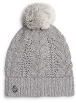 Vince Camuto Cable-Knit Fur Pom-Pom Hat