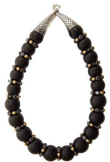 Bottega Veneta Onyx and cubic-zirconia necklace