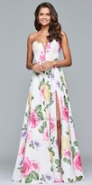 Faviana Plunging Strapless Sweetheart Floral A-line Prom Dress