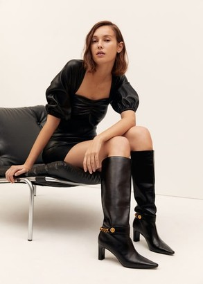 MANGO Chain detail leather boot black - 6 - Women