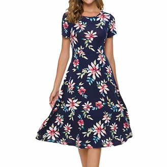 Spritumn Women Clothes Women's Vintage Ruffle Floral Flared A Line Swing Casual Cocktail Party Dresses