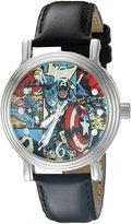 Marvel Captain America Women's W002588 Captain America Analog Display Analog Quartz Black Watch