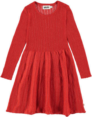 Molo Cameron Ribbed Long-Sleeve Dress w/ Metallic Threading, Size 2T-12