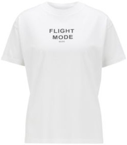 HUGO BOSS Relaxed Fit T Shirt In Mercerized Cotton With 3 D Print - White