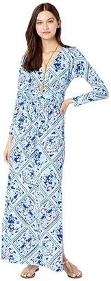 Lilly Pulitzer Nichola Maxi Dress (Zanzibar Blue Meet Me On The Dock) Women's Clothing