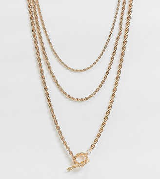 ASOS DESIGN Curve multirow necklace with rope chain and t bar in gold tone