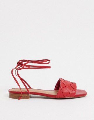 Who What Wear Marlena woven tie up flat sandals in red leather