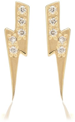 Sydney Evan Lightning Bolt 14kt yellow gold and diamond earrings