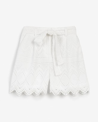 Express Super High Waisted Lace Belted Shorts
